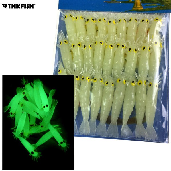 Glow Shrimps Soft Lure Baits 27 Pcs, 1.7in Grub Worms Small Freshwater Lighting Glow in Dark Shrimps Soft Lures Y18100906