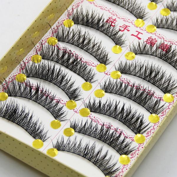 YOKPN Handmade False Eyelashes Thick Black Cotton Stretch Fake False Eyelash Lashes Makeup Tips Natural Fake Eye Lashes Q3