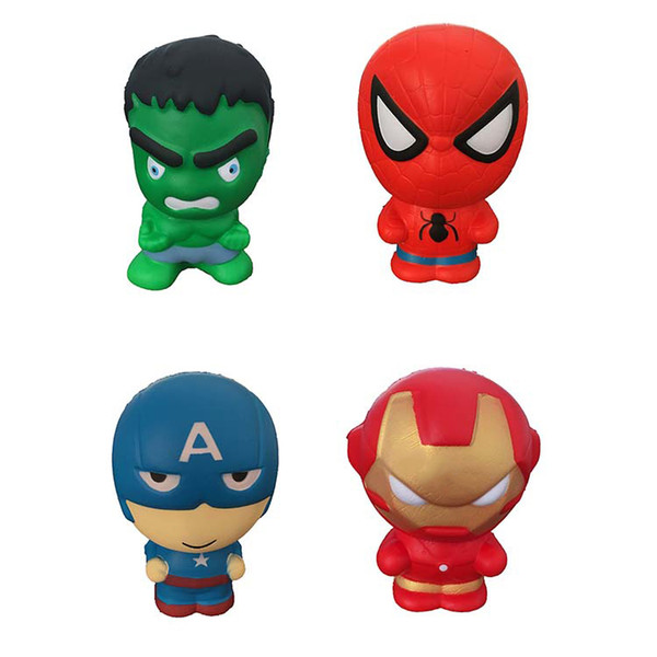 Kawaii Squishies Toys Hulk Spider-man Iron Man Captain America Cute Squishy Superhero Squeeze Cartoon Decompression Toys