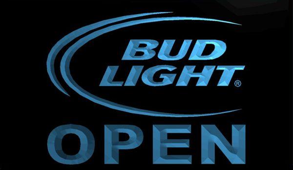 LS712-b-Bud-Light-Beer-OPEN-Bar-Neon-Light-Sign Decor Frete Grátis Dropshipping Atacado 8 cores para escolher