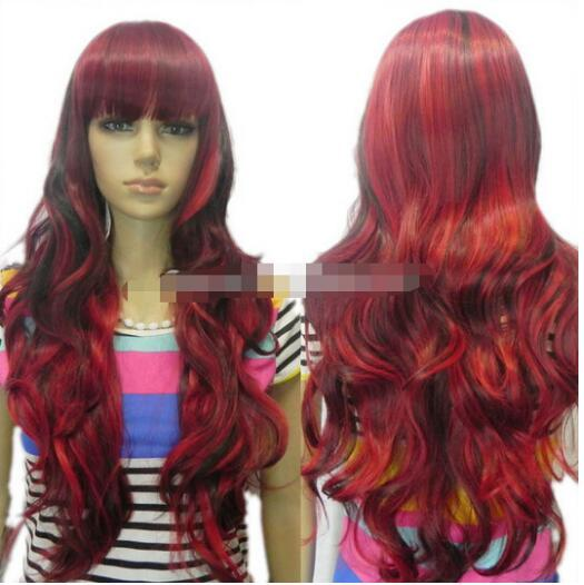 Free shipping+++black red mixed long curly wavy women cosplay party layered loose full hair wig