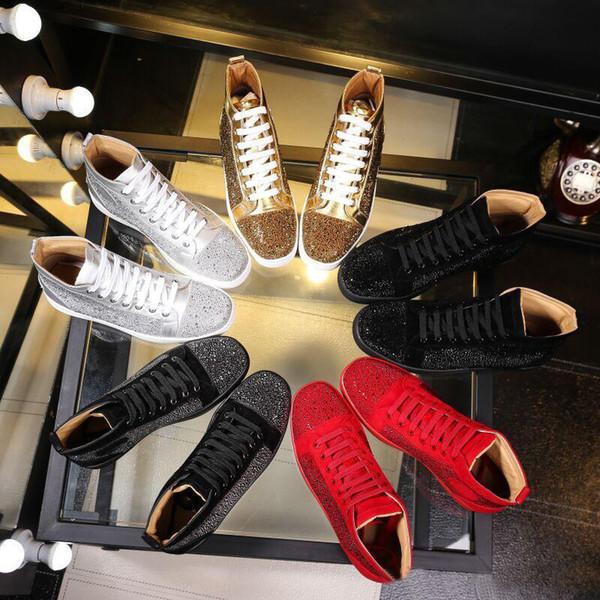 Venta al por mayor 2018 hombres mujeres rhinestone zapatos de alta superior famosa marca de diseño zapatillas de deporte hombres zapatos causales planas con caja y bolsas de polvo