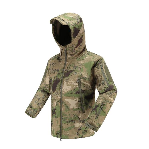 Sports de Plein air Soft Shell Militaire Tactique Veste Homme imperm/éable Coupe Camouflage Capuche Camo Arm/ée V/êtements