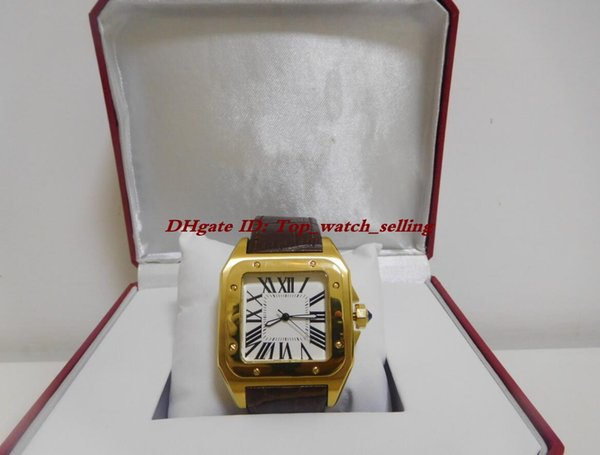 Hot scatola originale di lusso documenti Mens 100 XL 2 TONE 18K oro giallo AUTOMATICO W20072X7 cinturino in pelle meccanico automatico orologi da uomo