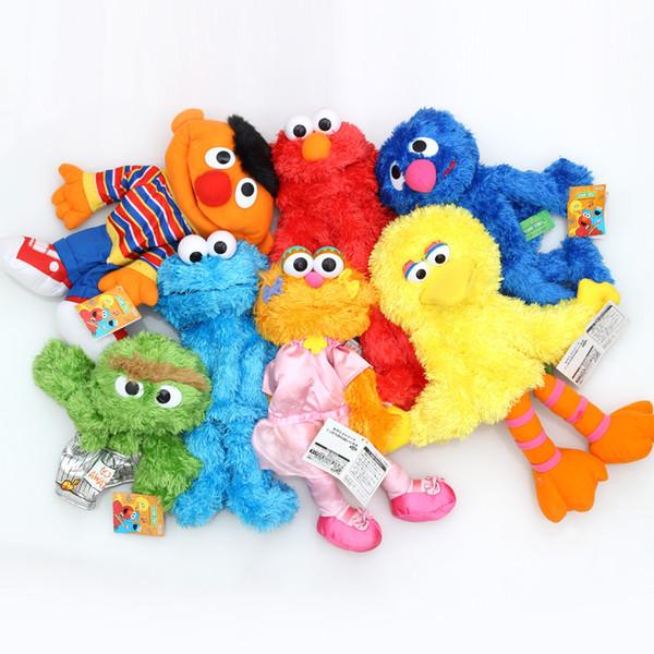best selling New Hand Puppet 35cm Sesame Street Elmo BIG BIRD COOKIE BERT ERNIE Stuffed Doll Puppet Cartoon Soft Plush Toy Christmas Gifts
