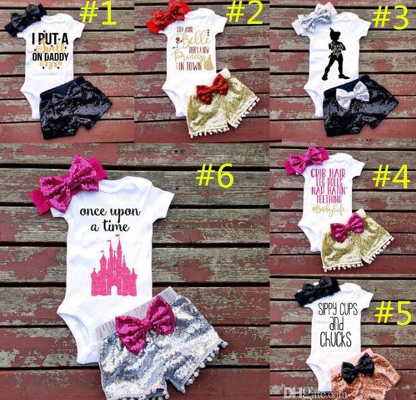 top popular Baby girl INS letters rompers suit 7 Style Children Short sleeve triangle rompers+paillette shorts+bowknot Hair band 3pcs sets clothes 2020