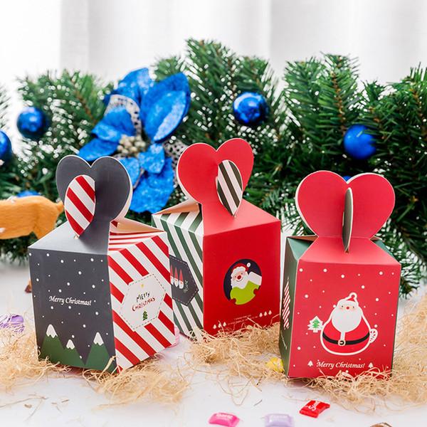 5 Adet / grup Merry Christmas Çizgili Stil Elma Kutusu Özel Noel Arifesi Çerezler Ambalaj Hediye Kutusu Karton Kardan Adam Şeker
