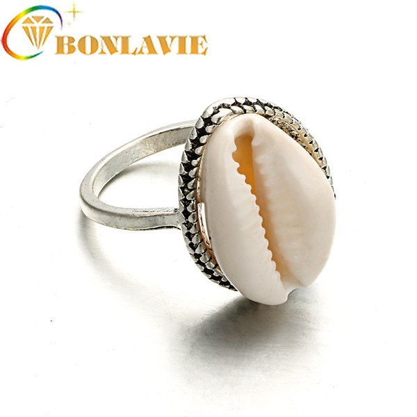 Cute Charms Cowry Cowrie Ring Boho Womens Natural Sea Shell Finger Rings Anillos Mujer Gothic Beach Jewelry Shellhard