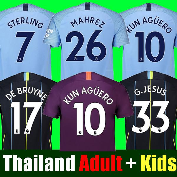 Thailand MAHREZ JESUS DE BRUYNE MANCHESTER soccer jerseys 2019 SANE jersey 18 19 football KIT Top city shirt adult and kids set uniform