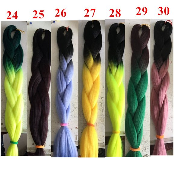 top popular Ombre Kanekanlon Synthetic Braiding Hair Jumbo Crochet Braiding Twist Two Tone Synthetic Hair Extensions Customied Color 2020