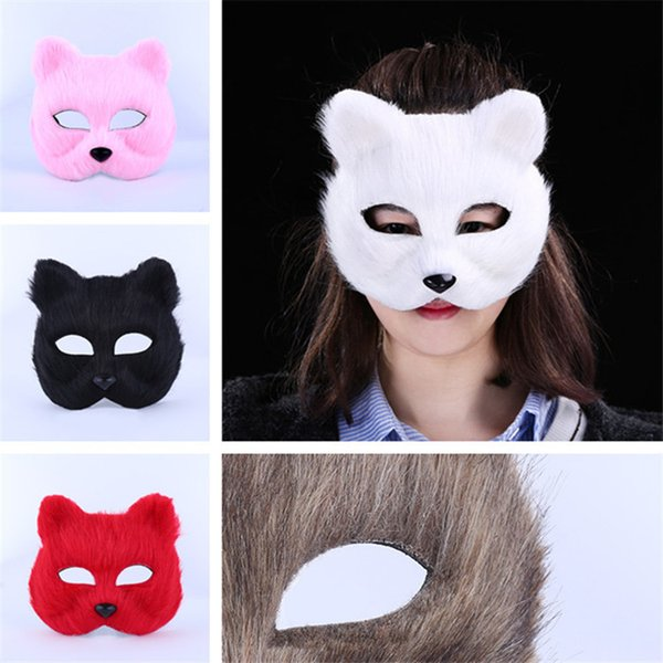 Halloween Fox Fur Mask Women Party Fashion Sexy Masquerade Mask Realistic Fox Half Animal Mask Fox Cosplay Dance Masks 5color 120pcs T1I997