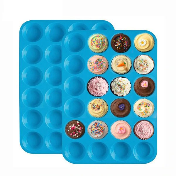 Mini Muffin Cake Mold 24 Cupcakes Silicone Mold Cake Cupcake Pancakes Mold Non-stick Tray Bakeware Tools