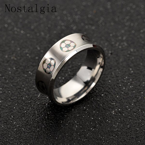 Nostalgia Sport Charms New Trendy Football Ring For Soccer fans Hot Sale Stainless Steel Ring Fashion Men Jewelry Dropshipping