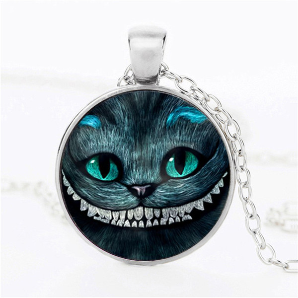 Hot! New Cheshire Cat Necklace Cat Ear Jewelry Smile Pendant Glass Picture Pendant