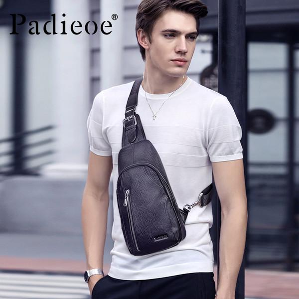 Padieoe marca de cuero genuino de los hombres bolsos de pecho bolsa de hombro bolsas de hombro para el viaje de estilo coreano SchoolBag paquete de pecho Messenger