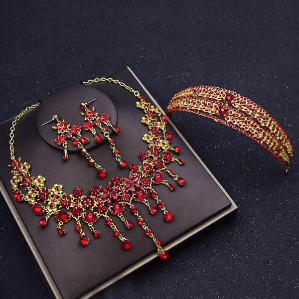 Tiara de la corona de la novia de tres piezas traje de joyería coreana roja pendientes de joyería de la boda accesorios para el cabello