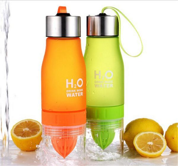 Creative Fruit Juice Infuser Water Bottle 650ml H2O Plastic Portable Lemon Juice Bottle For Water Outdoor Shaker Sport bottle hot Sale 2018