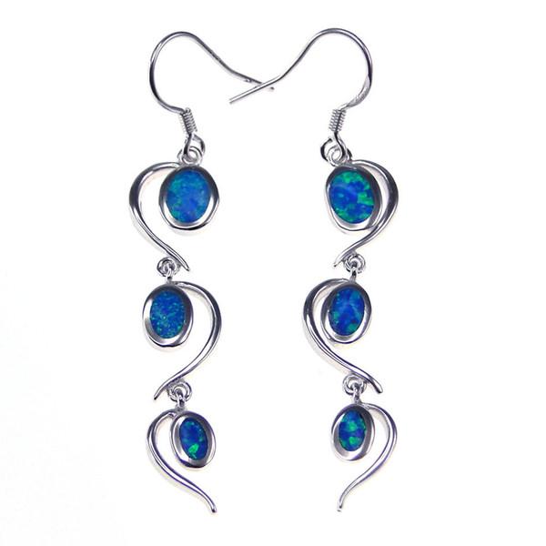 Fashion jewelry 925 silver stud Earrings Blue Opal rhodium plating Social gatherings elegant gifts DR030596E-K5-5.6g Free Shipping
