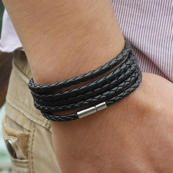 Mens Bracelets Metal 6Colors PU Leather Bracelet Wristband Bangle Punk Style Fashion Jewlery Magnetic Clasps