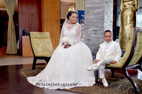 2019 más nuevo vestido de bola vestidos de novia de manga larga de encaje con cuentas vestidos de boda árabes africanos con cuentas vestidos de novia