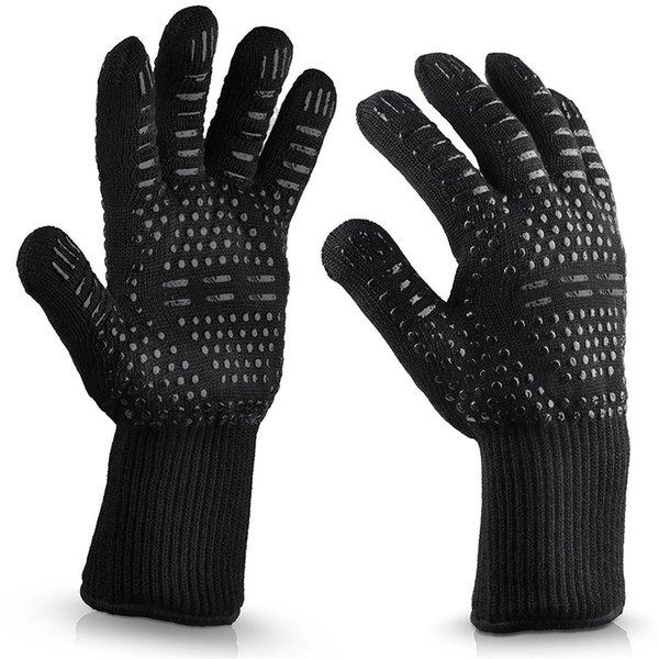 Bbq Gloves Духовка Теплоизоляция Силиконовая хлопчатобумажная перчатка Flame Retardancy Противопожарная защита Барбекю на открытом воздухе Микроволновая печь оптом 14lc gg