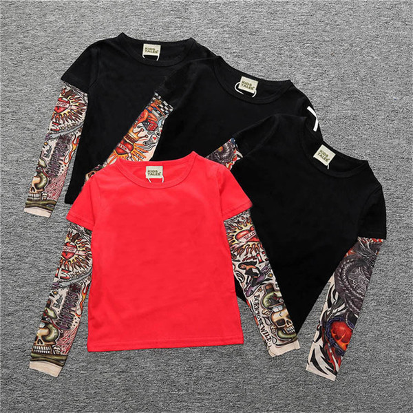 2018 Spring Autumn Children Girls Boys T-shirts Tattoo Split Joint Long Sleeve Tees for Kids Cool Hip-hop Style Clothes