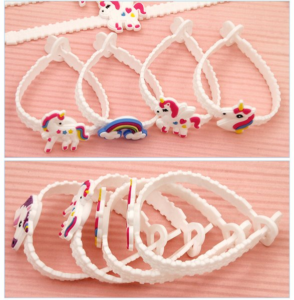 Unicorn Bracelets Wristband PVC Pawliss Emoji Birthday Party Favors Supplies for Kids Girls Emoticon Toys Prizes Gifts Rubber Band