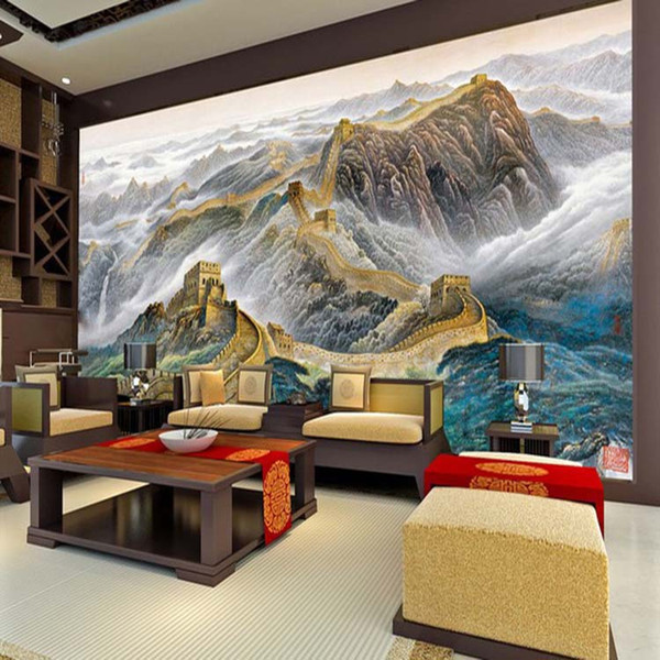 3D Large Photo Murals Wallpapers Chinese Landscape Wall Cloth Living Room Textile Wall Decoration Great Wall