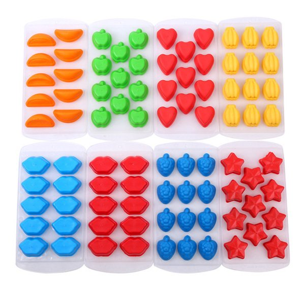 Creative 21*11*2cm 7 Styles Food Grade Silicone Ice Cube Mold Design Star Heart Banana Shaped Popsicle DIY Ice Cream Tray