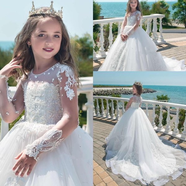 Ball Gown Princess Tulle Flower Girl Dresses Jewel Long Sleeve Sweep Train Girls Pageant Dresses With Applique Beaded For Children Party