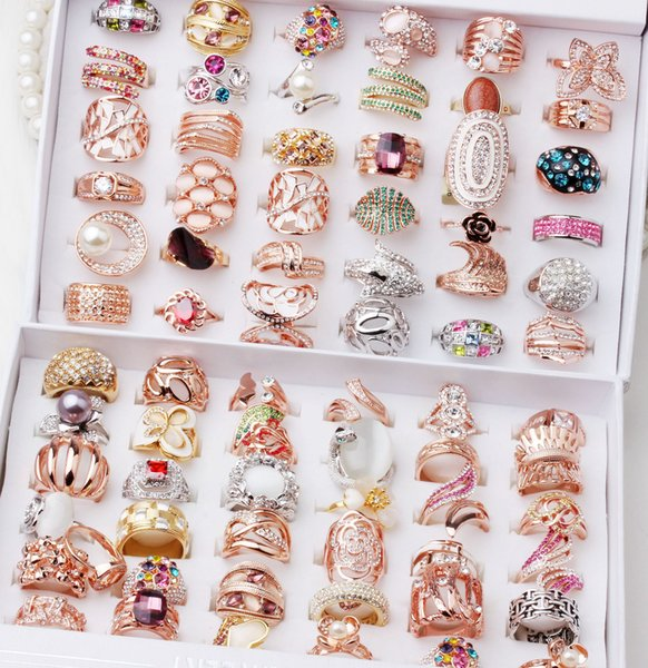 top popular womens mens Ring rings for Women Men Lady ladies Rose Gold Sliver Plated finger ring finger decoration fashion Jewelry wholesale 2019
