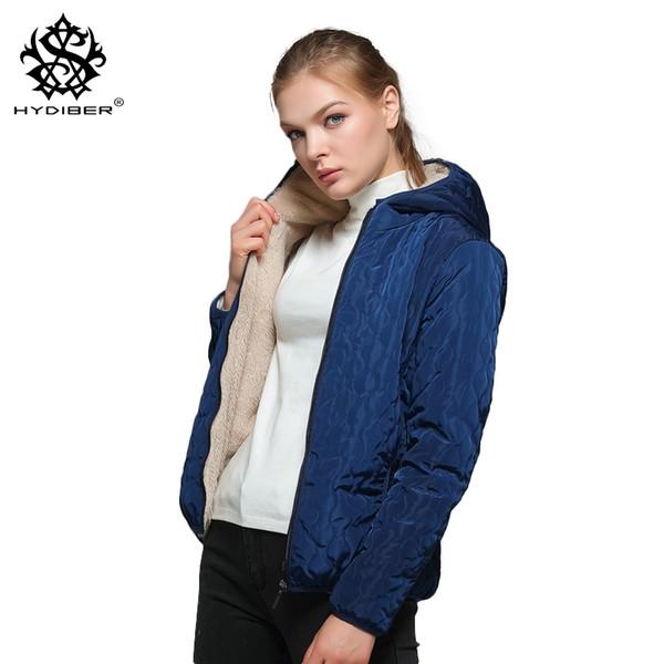 Diamantes de manga larga Partern Fleece artificial dentro de la capucha Abrigos cortos de invierno Mujeres parka Otoño outwear Tops Chaquetas 2018 S919