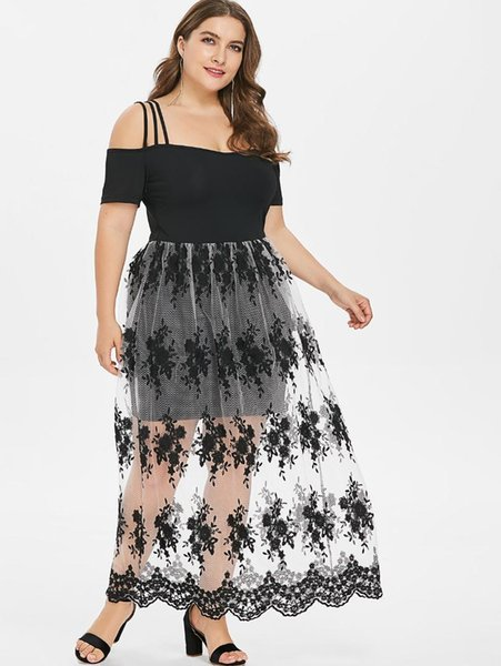 2019 Wipalo Plus Size 5XL Floral Embroidery Scalloped Maxi Dress Cold  Shoulder Ankle Length See Through Spaghetti Strap Vestidos From Missher,  $29.14 ...