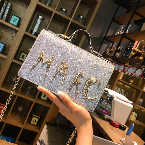 2018 New Shoulder Bag Women's Chain Letter Sequin Fashion Trend Wild Small Square Bag