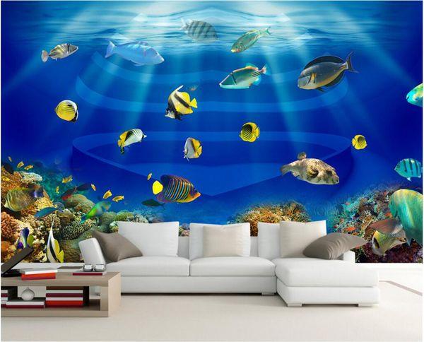3d wallpaper custom photo mural Sea world heart-shaped fish tv background wall Home decor 3d wall murals wallpaper for walls 3 d living room
