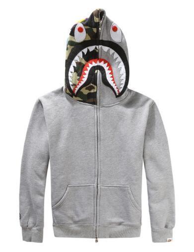 Tide marca kanye hip hop homens cabeça de tubarão assustador bordado homens mais suéter de cashmere homens e mulheres amantes com capuz jaqueta