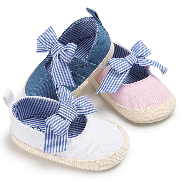 3 Colors Baby Girls Princess Shoes Infant Toddler Kids First Walkers Striped Big Bow Soft Soled Anti-Slip Shoe Fashion Accessorices G139Q