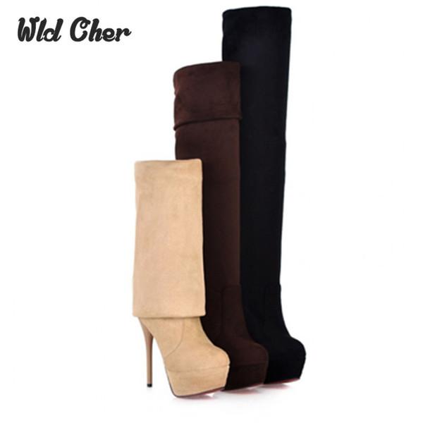 Plus Size 33-44 Hot 2017 Outono Mulheres Botas Sexy Branco de Salto Alto Mulheres Coxa Longa Alta Bota Sobre o joelho Plataforma Mulheres Sapatos