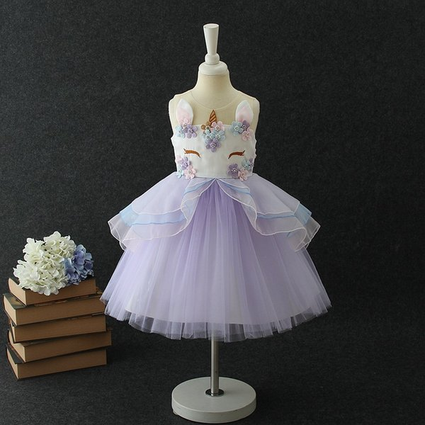 Vieeoease Girls Unicorn Dress Kids Clothing 2018 Summer Fashion senza maniche in pizzo Tutu Princess Party Dress EE-170