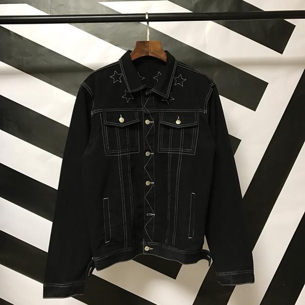 2018 Autumn brand Men's Denim Jacket fashion Jeans Jackets Slim fit casual pentagram embroidery coat Chaqueta Hombre