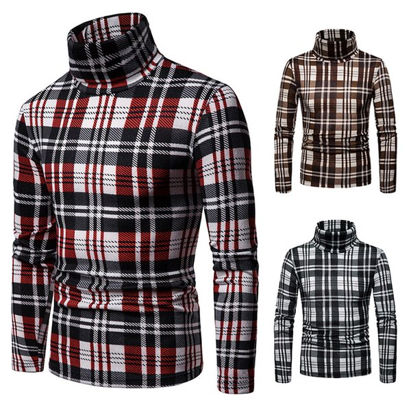 Pullover Men Winter Fall Fleece Hoodie Sweatshirt Oversized Turtle Neck Pullover Sweaters Long Sleeve Plaid Tops for Men Free Shipping