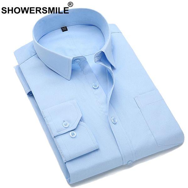 SHOWERSMILE Business Formal Dress Shirt Men Long Sleeve Cotton Social Shirt Male Office Wear Slim Fit Big Size Clothing