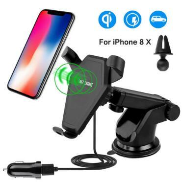 Fast Qi Wireless Charger Car Mount Phone Holder Gravity Reaction for iPhone 8 Plus X Samsung Galaxy S6 S7 S8 CCA9609 100pcs