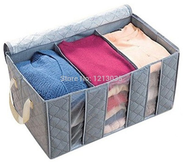 1Pcs Huge Gray Folding Plaid Pattern Non-woven Clothing Quilt Storage Box Organizer