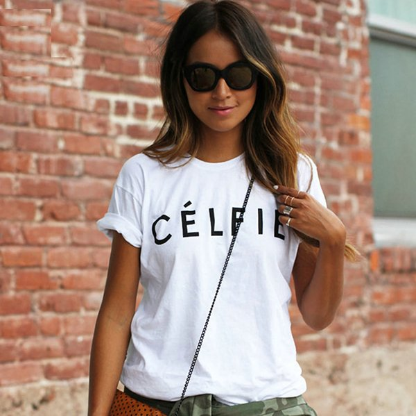 Celfie t shirt Cool letter short sleeve gown 100 cotton quick dry tees 8 colors printing tops Quality unisex Tshirt