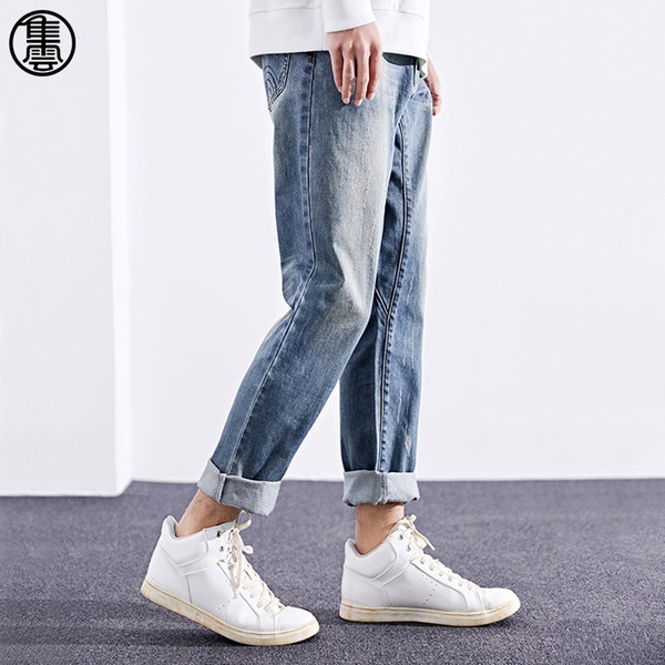 Men's 2018 Spring New Loose Style Cotton Straight Pattern Jeans Fashion Mid-waist Zipper Fly Full Length Jeans 81NZ084HX