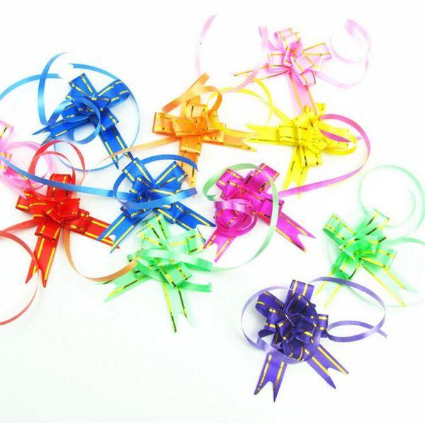 Embalaje de regalo Cintas de arco de tiro 10 unids / lote Regalo de la boda Suministros de la fiesta de cumpleaños Decoración del hogar DIY Cintas de flores de tirón 8 colores