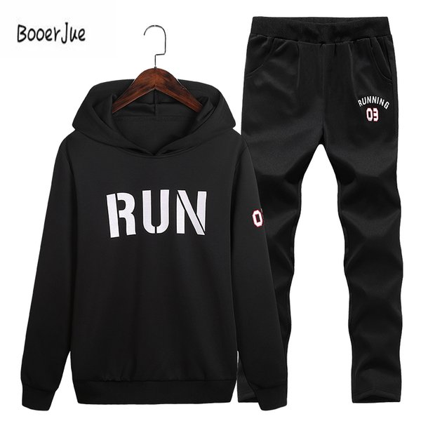 Men Tracksuit Sportwear Aumumn Winter Fleece Suit With Pants Male Casual Hooded Sweatshirt Pullover Set Masculino Letter Hoody
