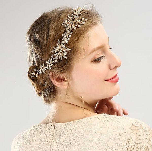 Handmade with gold leaf headwear, bride's hair accessories, wedding dress accessories.