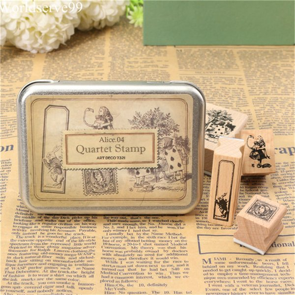 4pcs/set Vintage Alice NO.04 Blocks Craved Wooden Rubber Stamp Tin Box Fairy Tale Series Stamper Craft Scrapbooking DIY